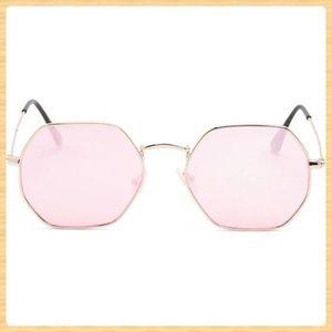New Melt Rose Gold Geometric Sunglasses